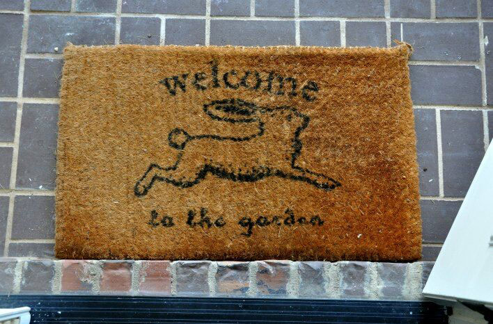 rabbit welcome mat