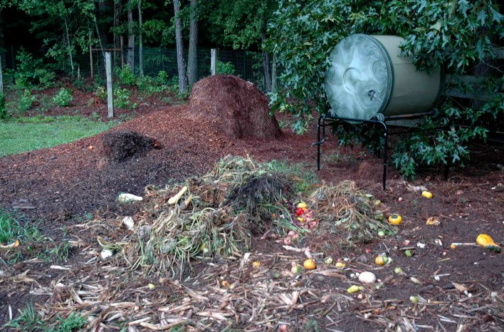 a closed bin system behind an open compost pile