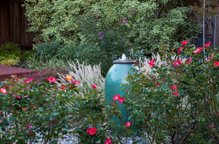 Small space garden design fountain