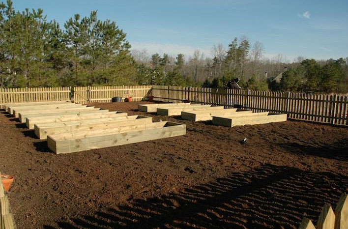 Treated wood raised bed garden structures