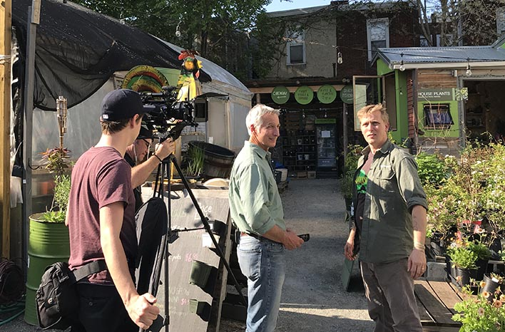 Filming an episode of Growing a Greener World at Greensgrow Farms