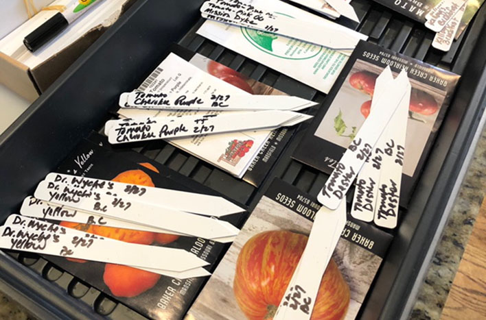 Pre-labeled plant tags for each seed variety