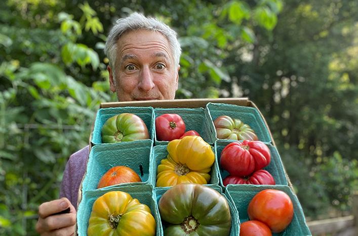 Joe with tomatoes