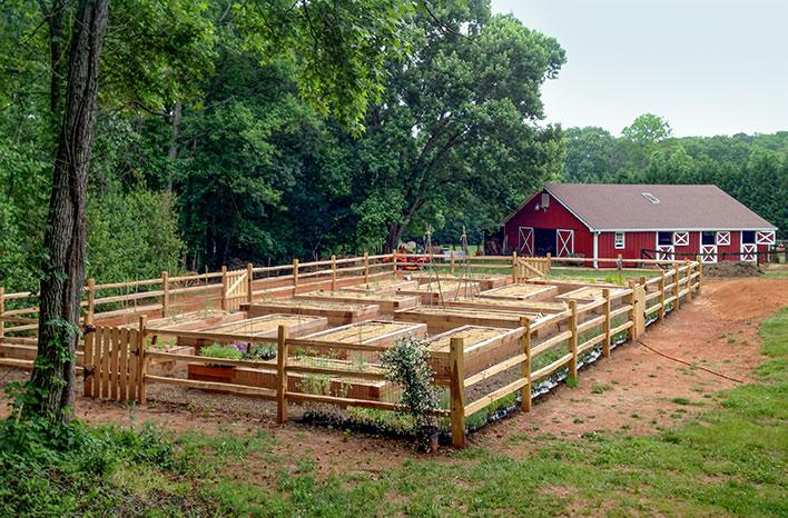 GardenFarm raised beds and barn