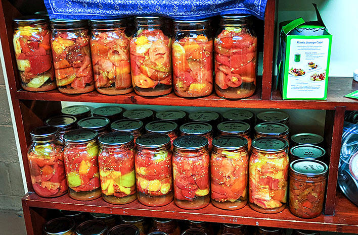 Canned tomatoes in jars