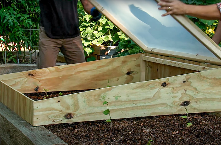 Opening cold frame lid