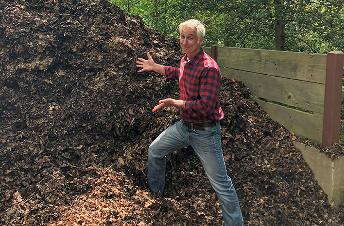 Joe Lamp'l with a pile of mulch