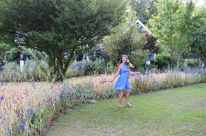 Brie Arthur in her garden