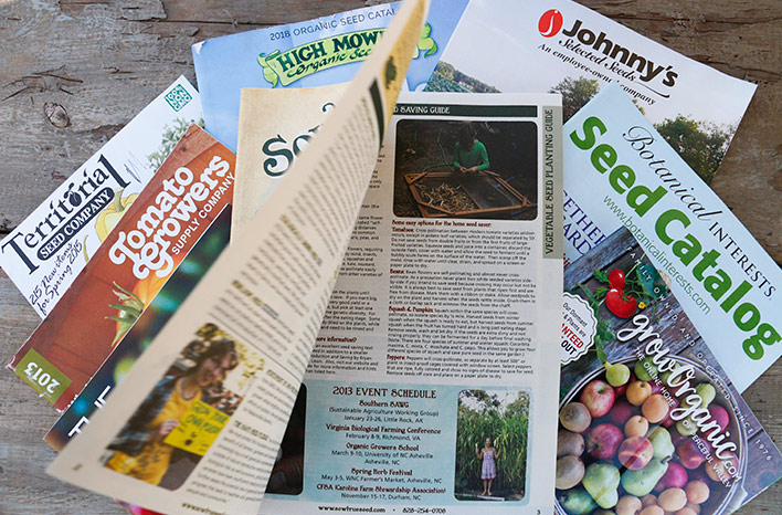 Stack of seed catalogs