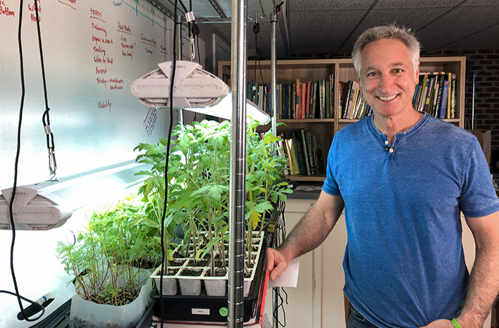 Joe Lamp'l demonstrates how to start seeds indoors