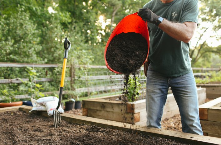 Topdressing the garden with 1 inch of compost annually can provide all the nutrients an intensively planted vegetable garden needs, according to Lee Reich's calculations.