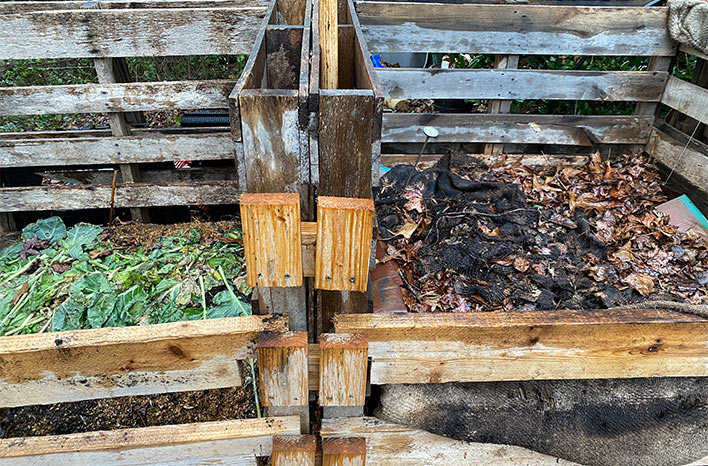 compost bin with carbon inputs